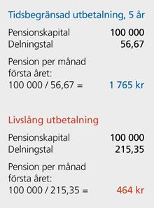 hur mycket får jag i pension